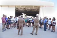 Students participating in the 2017 NASA Student Airborne Research Program meet the pilots of the NASA Sherpa