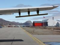 NASA's P-3B aircraft parked on the airstrip in Kangerlussuaq, Greenland.