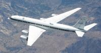 Instrument probes protrude from NASA's DC-8 Airborne Science flying laboratory