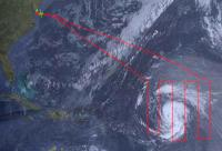 Diagram of HS3 flight path over Tropical Storm Nadine