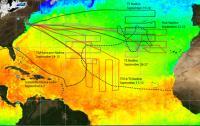 Global Hawk flight paths over Tropical Storm Nadine in the Atlantic Ocean