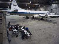 The NASA P-3B sits in the hangar at Thule Air Base