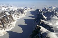 Ice covered fjord on Baffin Island
