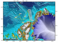 Flight path of the NASA P-3 Orion in yellow during the joint sea ice science mis