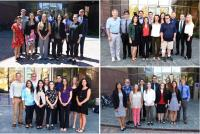 The four SARP 2017 research groups: Tropospheric Chemistry (upper left), Whole Air Sampling (upper right), Ocean Remote Sensing (lower left), Land Vegetation Remote Sensing (lower right). Students posed with their groups after the completion of their final research presentations on August 8 and 9, 2017 at the University of California Irvine. Credits: NASA / Megan Schill