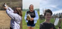Student Airborne Research Program interns Kristen Gregg of Montana State University in Bozeman, Montana, Brionna Findley of Spelman College in Atlanta, and Jason Beal of Macalester College in Saint Paul, Minnesota.