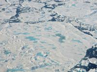 A collection of broken up sea ice floes of various sizes, floating north of Greenland. Melt ponds are visible on the ice surface. This photo was taken during an Operation IceBridge flight on July 24, 2017. Credits: NASA/Robbie Russell