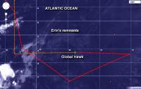 This infrared image from NOAA's GOES-East satellite on Aug. 20 shows the Global Hawk crossing the low-level remnants of Erin. Erin's low-level clouds appear as a faint circulation. The green path is the direction the Global Hawk came from. The red line represents the path the aircraft would follow.