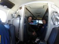 NASA Langley team members Richard Hare, left, and David Harper aboard Langley's UC-12. The team used an instrument called High Spectral Resolution Lidar, or HSRL-1, to collect data on the vertical distribution of phytoplankton in the Atlantic Ocean.