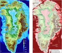 Left: Greenland topography color-coded from 4,900 feet (1,500 meters) below sea level (dark blue) to 4,900 feet above sea level (brown). Right: regions below sea level connected to the ocean, either shallower than 600 feet (200 meters, light pink); between 600 and 1,000 feet (300 meters, dark pink); or continuously deeper than 1,000 feet below sea level (dark red). The thin white line shows the current extent of the ice sheet. Credits: UCI