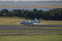 The NASA Global Hawk 872 lands at 7:43 a.m. EDT, August 27, at the Wallops Flight Facility in Virginia following a 22-hour transit flight from its home base at the Armstrong Flight Research Center in California.