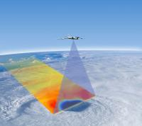 Artist's concept of aircraft with HIRAD scanning a tropical cyclone.