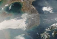 A new field study this May and June seeks to advance NASA's ability to monitor air quality from space. This 2007 NASA satellite image shows a swath of air pollution sweeping east across the Korean peninsula to Japan.