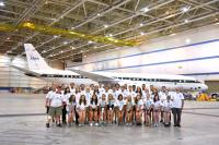 Students, mentors and faculty of the 2018 NASA Student Airborne Research Program pose in front of the NASA DC-8