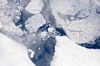 Terminus of the Zachariæ Isstrøm glacier in northeast Greenland, as seen from 28,000 feet during an Operation IceBridge flight on Aug. 29, 2017 Credits: NASA/LVIS TEAM