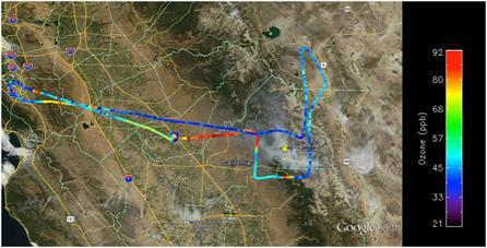 Alpha Jet flight tracks over Rough Fire, CA, 090215