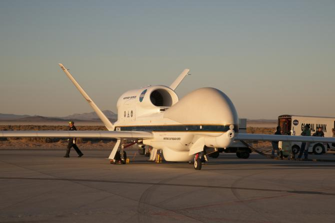 NASA's Global Hawk being prepared at Armstrong to monitor and take scientific measurements of Hurricane Matthew in 2016.