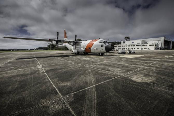 A C-130 from Wallops Flight Facility prepares for ACT-America's fall flight campaign. Credits: NASA/Patrick Black