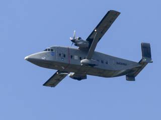 NASA's C-23 Sherpa collects ozone data as it flies over Langley. Credits: NASA/David C. Bowman
