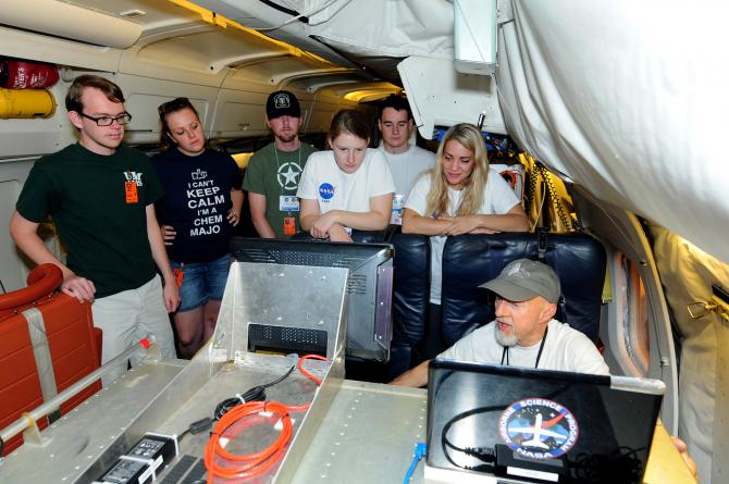 Students learn about the MASTER remote sensing instrument onboard the NASA DC-8