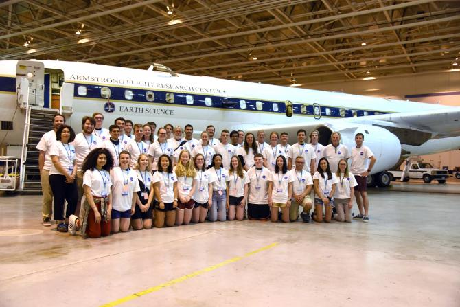 2019 NASA Student Airborne Research Program (SARP) students, mentors and faculty pose in front of the NASA DC-8 airborne laboratory. Credits: Megan Schill / NASA SARP
