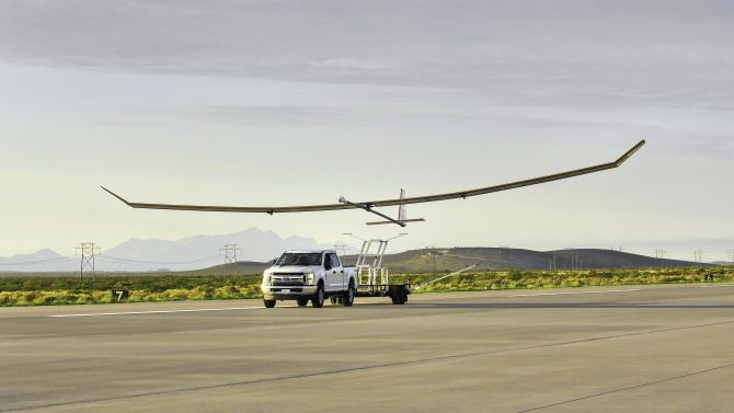 The Swift HALE uncrewed aircraft takes off from Spaceport America in New Mexico on July 7, 2020, for its first flight test. Credits: Swift Engineering