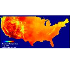 Predicted US maximum temperature, July 2099