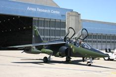 Alpha Jet in front of NASA Ames Research Center hangar