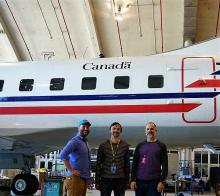4STAR on the NRC's Convair 580 with Sam, Konstantin, and Roy posing in front