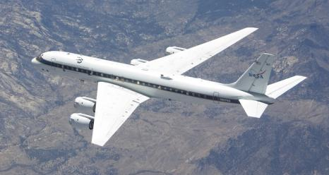 The DC-8 airborne laboratory is one of several NASA aircraft that will fly in support of five new investigations into how different aspects of the interconnected Earth system influence climate change.