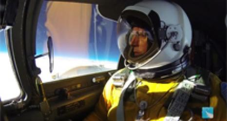 ER-2 pilot in cockpit at 70K ft