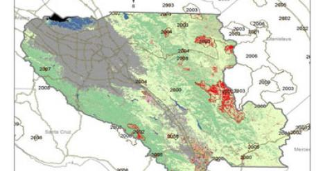 Areas of disturbed forest and woodland cover in Santa Clara County.