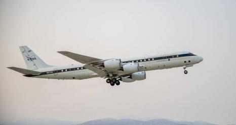 NASA's DC-8 taking off to St. Croix in support of the Convective Processes Experiment - Aerosols and Winds campaign (CPEX-AW) on Aug 17, 2021. Credits: NASA / Joshua Fisher