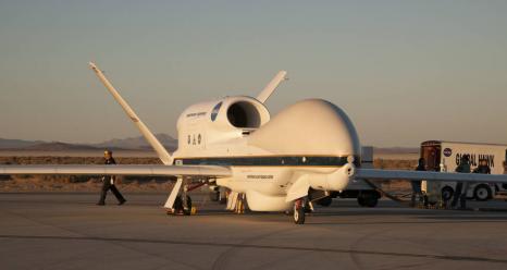NASA's Global Hawk being prepared for deployment to Florida to study Hurricane Matthew. Credits: NASA Photo / Lauren Hughes