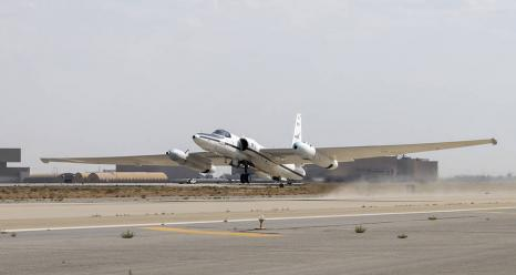 NASA's Armstrong Flight Research Center ER-2 #809 high-altitude aircraft taking off for Dynamics and Chemistry of the Summer Stratosphere (DCOTSS) science flights in Palmdale, CA on June 17, 2021. Credits: NASA Photo / Carla Thomas