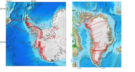 Operation IceBridge's planned flight lines over Arctic and Antarctic land and sea ice in Sept-Nov. 2015.