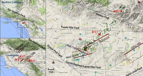 Setting of the La Habra quake. Red dots show the magnitude 5.1 main shock, magnitude 4.1 aftershock and magnitude 5.4 Chino quake in 2008. Relocated aftershocks are green dots. Modeled faults are in brown, with the heavier reddish brown line denoting the bottom of the fault and labeled with italics. Credits: NASA/JPL-Caltech