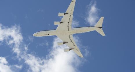 NASA's DC-8 makes a low approach to Edwards Air Force Base. Credits: NASA Photo / Carla Thomas
