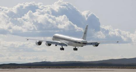 NASA's DC-8 aircraft takes off from its base operations in Palmdale, California on a mission aimed at studying polar winds in the Arctic region. Credits: NASA Photo / Carla Thomas