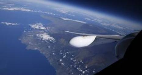 View of the island of Hawaii from the window of NASA's ER-2 aircraft. Credits: NASA