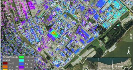 Subsidence in Jefferson Parish, Louisiana, from June 2009 to July 2012, as seen by NASA's UAVSAR instrument. The measured displacements are a combination of movement of the ground and of individual structures. The inset at lower right shows the parish location within Greater New Orleans.