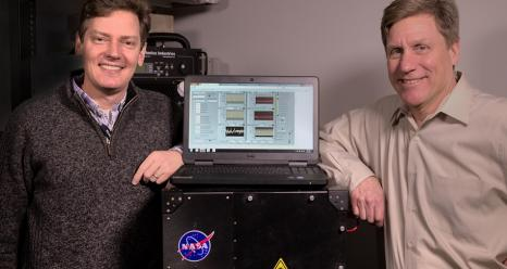 Goddard scientists Tom Hanisco (left) and Paul Newman (right) serve as science team co-investigators on NASA's newest Earth Venture mission, the Atmospheric Tomography Mission (ATom). One of ATom's instruments is a device (pictured here) that Hanisco developed to measure formaldehyde more efficiently.