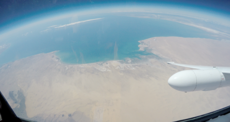 View from the NASA ER-2 high-altitude aircraft cockpit: Sonoran Desert coastline during ABI validation flight on March 23. Credits: NASA