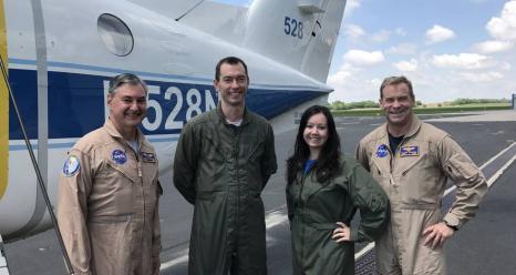 NASA's Kurt Blankenship, Matt Kowaleski, Laura Judd and Taylor Thorson are conducting science flights on NASA Langley's UC-12 aircraft as part of the Lake Michigan Ozone Study. Credits: NASA