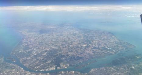 A view of the MOOSE study region from the Langley C-20B Gulfstream III. On the far side is the city of Windsor in Ontario, Canada. Detroit is in the foreground, with downtown Detroit on the lower left. The Detroit River runs between the two cities. Credits: NASA/Kenny Christian