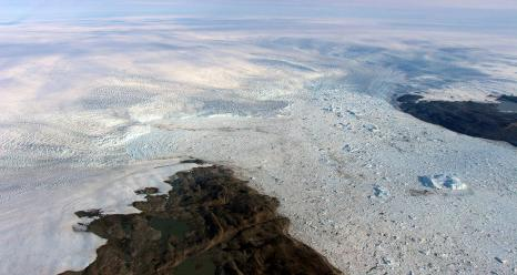 The calving front of Jakobshavn Glacier, center. Credits: NASA/OIB/John Sonntag