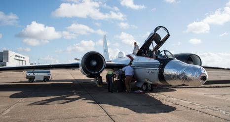 WB-57F jet is readied for a test run at NASA's Johnson Space Center in Houston. The instruments are mounted under the silver casing on the nose of the plane. Credits: NASA's Johnson Space Center/Norah Moran