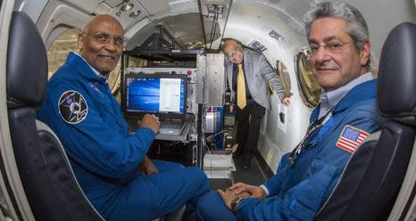 Langley researchers, from left, Mulugeta Petros, Upendra Singh and Tamer Refaat inside the King Air B200 aircraft on which they recently tested a new triple-pulse lidar that can simultaneously and independently measure carbon dioxide and water vapor, two powerful greenhouse gases. Credits: NASA/David C. Bowman