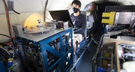 Masks are part of the safety protocol for ACTIVATE scientists. Here, Yonghoon Choi prepares for a science flight on the HU-25 Falcon. Credits: NASA/David C. Bowman