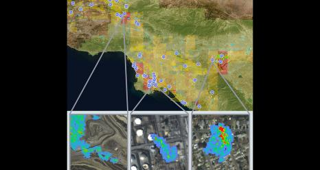 Views from NASA's Methane Source Finder, a tool that provides methane data for the state of California. The data are derived from airborne remote-sensing, surface-monitoring networks and satellites and are presented on an interactive map alongside infrastructure information. Credit: NASA/JPL-Caltech